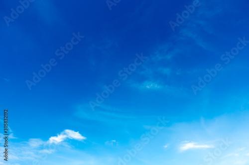Foto auf Leinwand Dunkelblau Blue sky, clouds in the sky