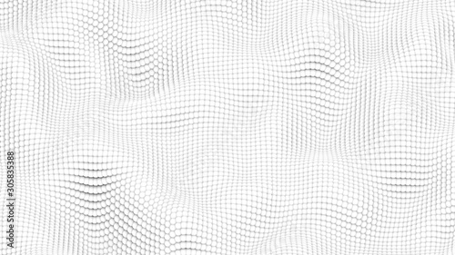 Valokuvatapetti Abstract Morphed Surface Made of White Spheres - 3D Illustration