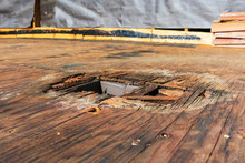 Plywood Decking Damage And Water Stains From Rain Water