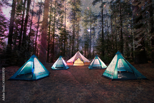 Fototapeta Mystical Camping Under the Night Sky