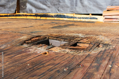 Plywood decking damage and water stains from rain water Canvas Print