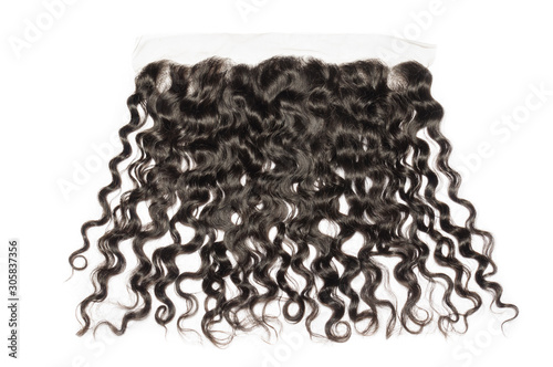 Photo Loose deep curly black human hair weaves extensions lace frontal closure