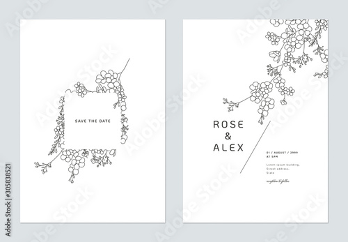 Minimalist wedding invitation card template design, floral black line art ink drawing decorated on square frame on white