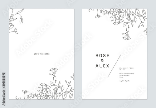 Minimalist wedding invitation card template design, floral black line art ink dr Fototapete