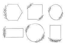 Hand Drawn Floral Frame Logo W...