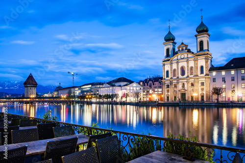 beautiful historic city center of Lucerne with famous buildings and lake Lucerne Tableau sur Toile