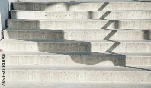 white grey staircase cement with black shadow architecture background