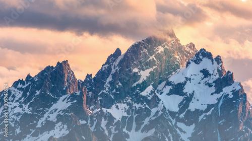 Snow peaks of the Grand Tetons. Jackson Hole, Wyoming