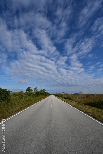 Wide angle view of Main Road in Everglades National Park, Florida receding into distance under beautiful winter cloudscape Canvas Print