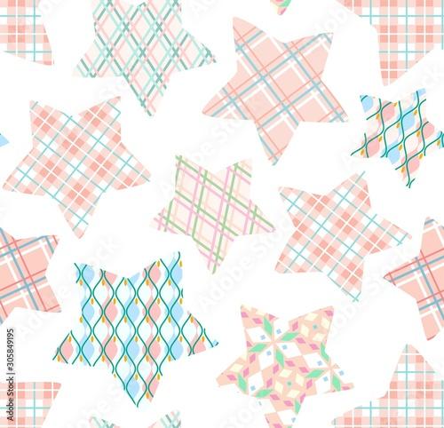 Fototapeta Gwiazdki  pink-checkered-stars-seamless-pattern-white-vector-pink-checkered-stars-on-a-white-field