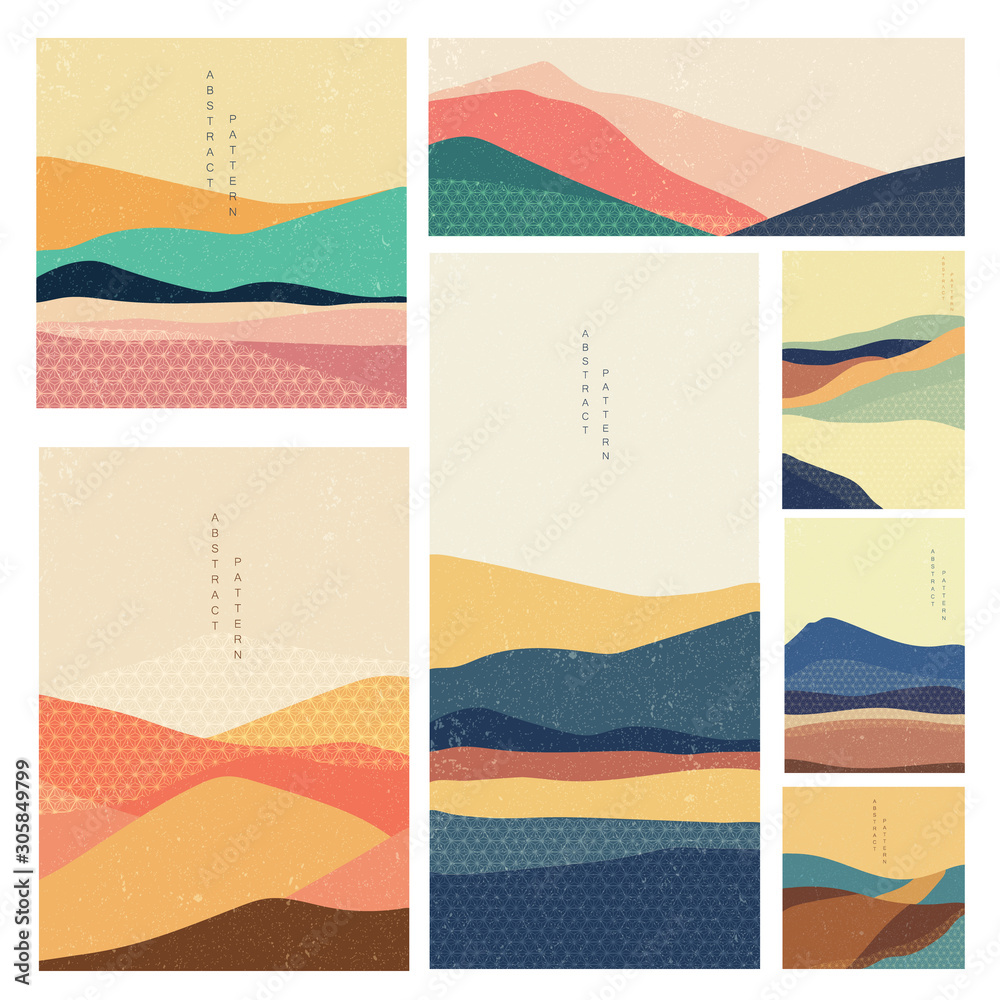 Fototapeta Abstract background with Japanese pattern vector. Landscape template with geometric elements. Layout design.