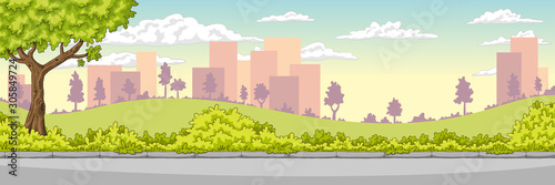 Panorama summer cityscape. Hand drawn vector illustration with separate layers.