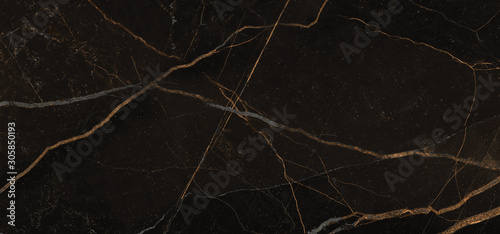 Black marble texture background with golden veins, Black marble natural pattern Canvas Print