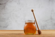 Honey In A Jar With Dipper