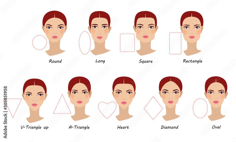 Fototapeta Female face shapes. Girl faces diversity. Vector illustration