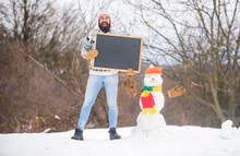 Bearded Man Build Snowman. Hap...