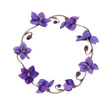 Violets Flowers Frame. Waterco...