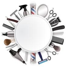 Barbershop Frame With Barber T...