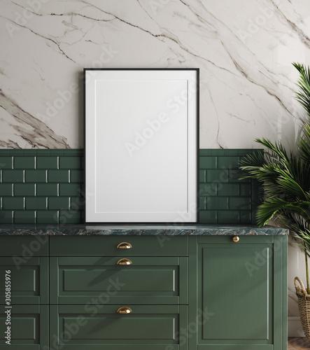 Fototapeta Mockup frame in dark green kitchen with marble wall, 3d render obraz
