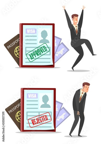 Fotografiet Approved and rejected visa applications with characters, vector flat illustratio