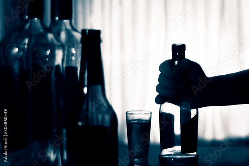 Fotomural Anonymous alcohol addiction, depression. Alcoholism concept