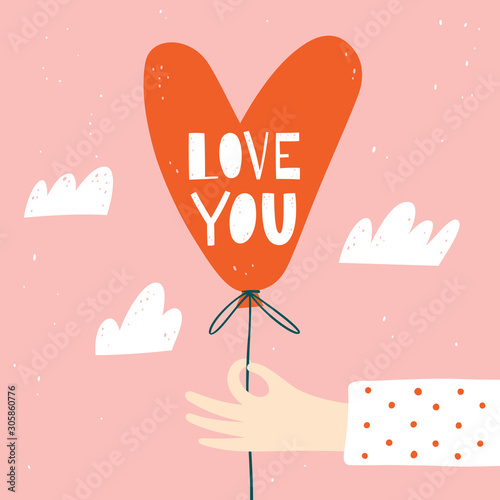Fotografie, Obraz Happy Valentine's Day greeting card with heart shape balloon in hand and handwritten text