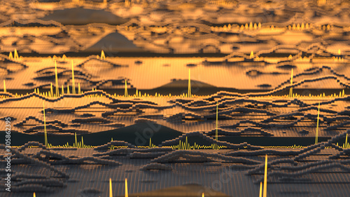 Photo Visualization of audio wave 3D rendering illustration