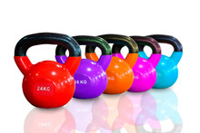 Colorful Kettlebells In A Row Isolated On White Background , Red , Purple ,  Pink , Orange And Cyan Color