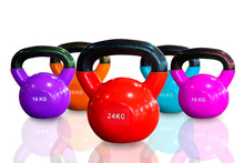 Colorful Kettlebells In A Row Isolated On White Background , Red , Purple, Pink, Orange And Cyan Color