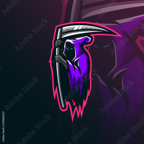 Photo  reaper sniper mascot logo design vector with modern illustration concept style for badge, emblem and tshirt printing