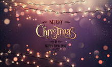 Gold Merry Christmas Text On Red Glitter Background With Xmas Decorations Glowing Garlands, Light, Stars, Bokeh. Merry Christmas Card. Vector Illustration, Realistic Vector
