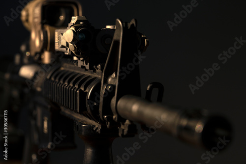 m4 rifle with optical sight and laser device Wallpaper Mural