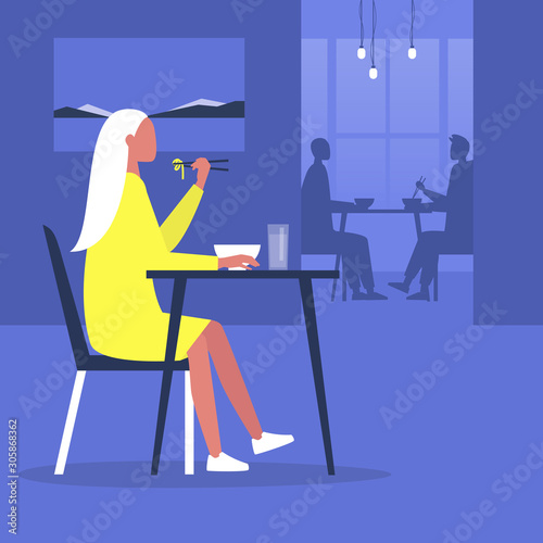 Fotografie, Tablou Young female character eating noodles with chopsticks inside a modern oriental r