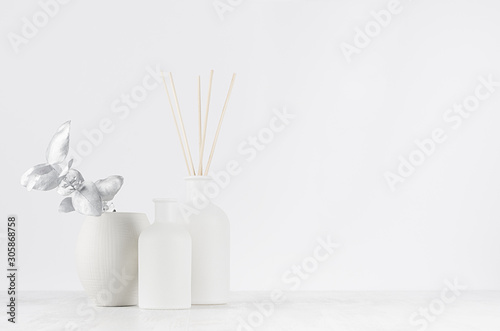 Obraz na plátně  Contemporary dressing table with blank white bottles, beige bungs, silver branch, bowl as elegant home decoration, copy space