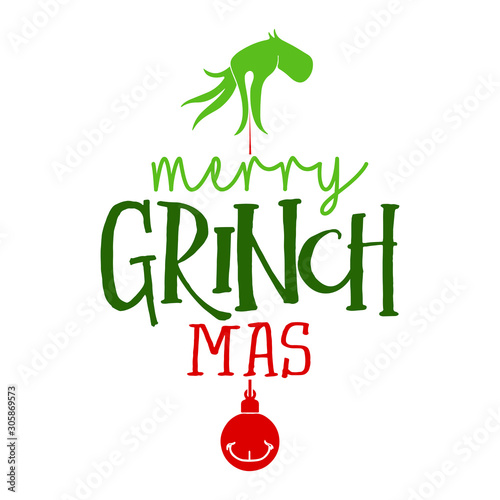 Merry Christmas with Grinch - Calligraphy phrase for Christmas Canvas Print