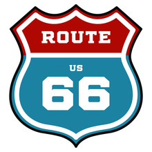 US Route 66 Sign. Vector Illustration.