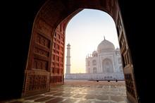 Taj Mahal During Sunrise In Ag...