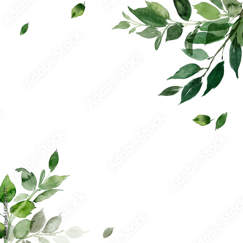 Wedding invitation, greeting card, watercolor painting with plant elements on a white background in modern style Fototapete