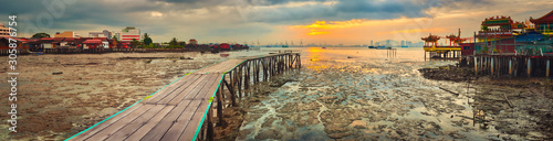 Sunrise at Penang. Yeoh jetty on the foreground , Malaysia. Panorama - 305876754