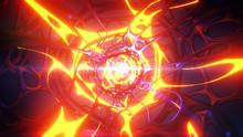 Abstract 3d Illustration Background. Sci-fi Futuristic Tunnel Traffic