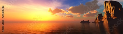Beautiful sea sunset near the rocks, panorama of the sea landscape at sunrise. 3d rendering.