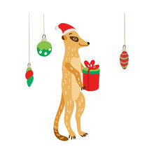 A Cute Meerkat Wearing Santa Hat With A Gift. Suricata Suricatta Is Ready To Celebrate Christmas Or New Year. Vector Illustration For Christmas Greeting Cards, Posters And Xmas Souvenir  Products.
