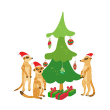 A Happy Family Of Meerkats Wearing  Santa Hats Stands Around A Christmas Tree. Vector Illustration In Red And Green Colors For Greeting Cards, Posters And Xmas Souvenir  Products. Isolated On White.