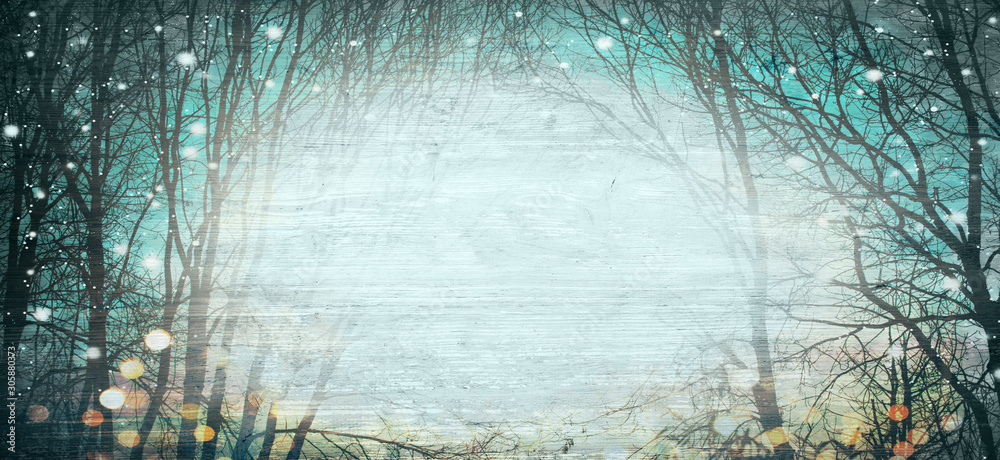 Fototapeta Abstract winter forest background with wood texture - Magical lights - Christmas backdrop