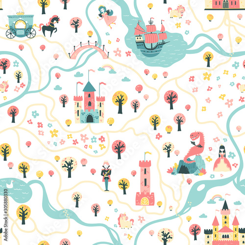 Seamless card pattern with prince and princess, unicorns and fairies, ship, river, castles, towers, dragon cave, carriage. Illustration in a children's cartoon scandinavian style ideal for textiles