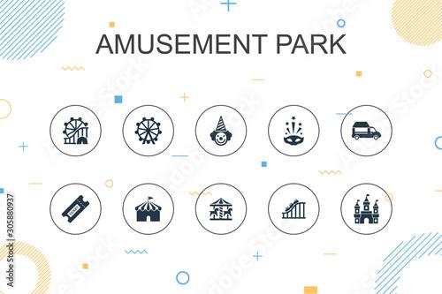 Leinwand Poster amusement park trendy Infographic template