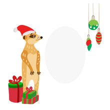 Cute Meerkat Wearing Santa Hat With Gifts. Suricata Suricatta Is Ready To Celebrate Christmas Or New Year. Vector Illustration For Xmas Cards, Posters And  Souvenir Products. Space For Your Text.