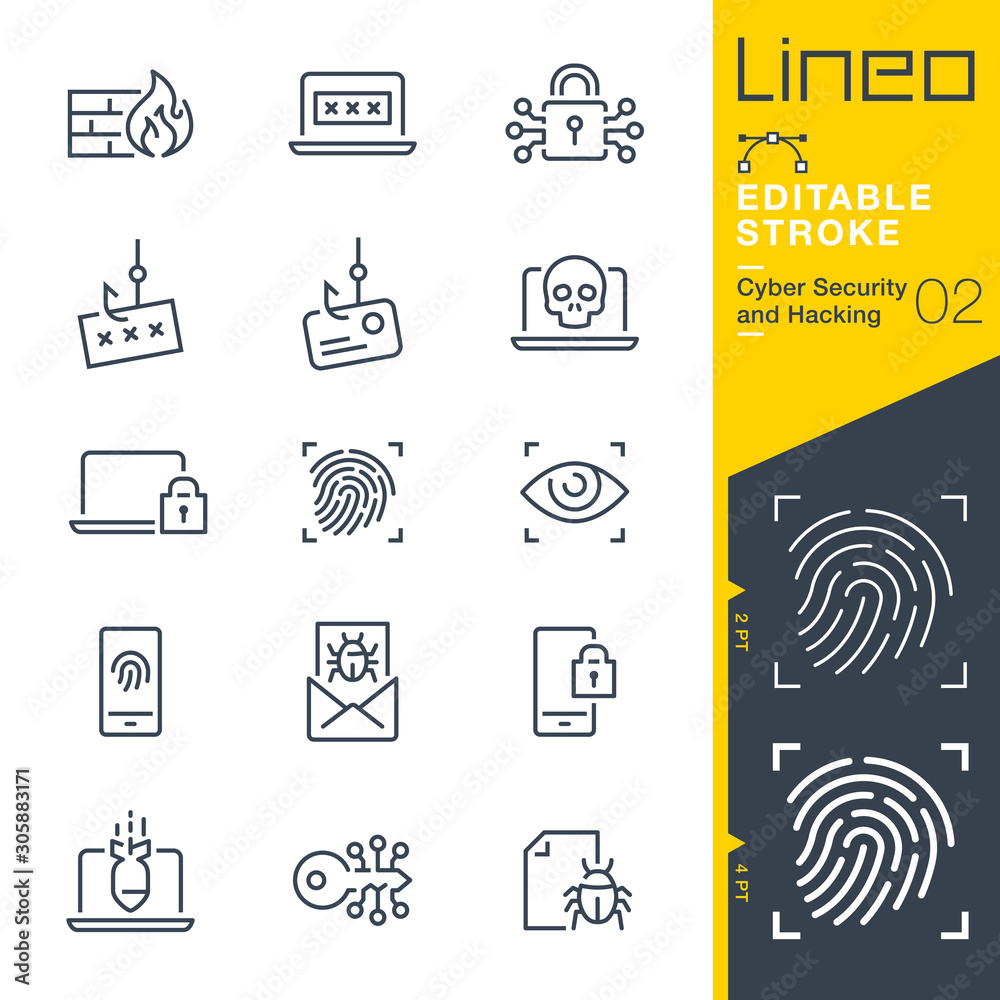 Fototapeta Lineo Editable Stroke - Cyber Security and Hacking outline icons