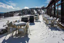 Terrace Of A Bar After A Snowf...