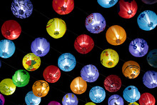 Multi-colored Lanterns, Hanging, Decorated. That Lights On At Night